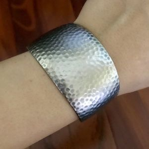 Metal Hammered C Bracelet